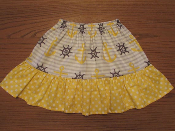 Nautical skirt/girls skirt/toddler skirt/anchor skirt/yellow and gray skirt/cotton skirt/ruffle skirt/girls skirt