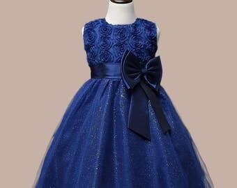 navy flower girl dress lace bow wedding bridal children toddler communion d1 s n