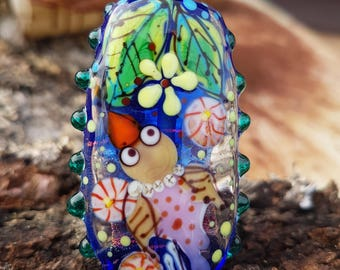 "Handmade Lampwork glass pendant, Lampwork glass focal bead, ""Bird"""
