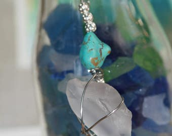 Sea Glass and Turquoise Pendant