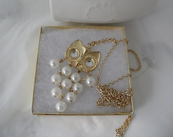 70s Mori Girl Bauble Necklace 36 Inch Necklace White Owl Pendant Necklace Articulated Pearl Owl Necklace 1970s Vintage Costume Jewelry