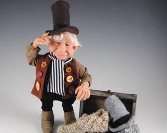 "Elf/Fairy/Handmade Art Doll/Fantasy Doll/ ""Ezra Finds Some Hats"""