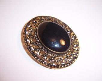 Vintage Black Opal Stone Faux Brooch
