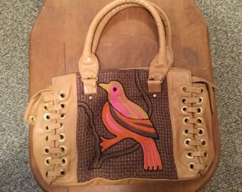 Vintage Leather Crocheted Bird Purse