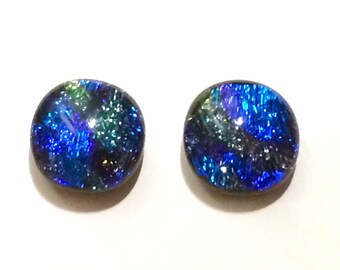 Sparkling 12mm Dichroic Fused Glass Stud Earrings, Green, Blue, Purple, Hypoallergenic Surgical steel