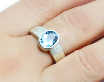 Blue Topaz Ring in silver - Solitaire ring set with light blue Topaz  - Blue Topaz Silver Ring -November birthstone.FREE SHIPPING.