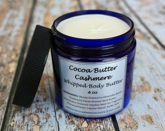 ON SALE - Cocoa Butter Cashmere Whipped Body Butter / Whipped Body Butter / Body Frosting / Vegan Body Butter