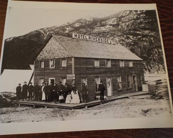 Antique Hotel Riverside and Restaruant at Dyea Yukon Archives,1898 Black and White Photo Yukon Archives Whitehorse  Collectible, Vintage Art