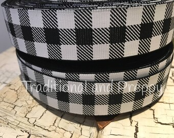 "7/8"" Black and White Buffalo Plaid Picnic grosgrain sold by the yard"