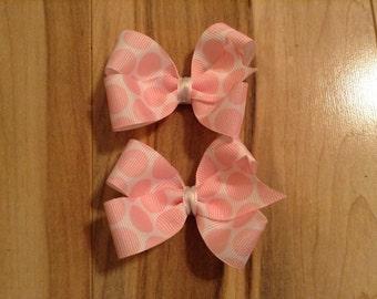 Pink Polkadot Hair Bows