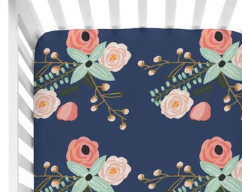 Berkeley | Navy Floral Crib Sheet | Vintage, Sweet, Navy, Pink Floral Fitted Crib Sheet | Floral Baby Nursery