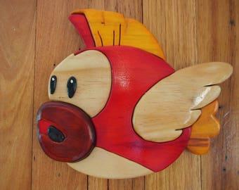 Mario Cheep Cheep Fish 3D segmented wood intarsia pattern for DIY