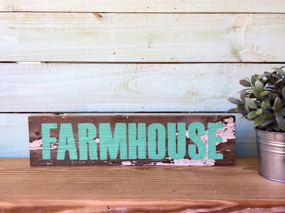 Farmhouse Reclaimed Wood Sign - Painted in Teal Green