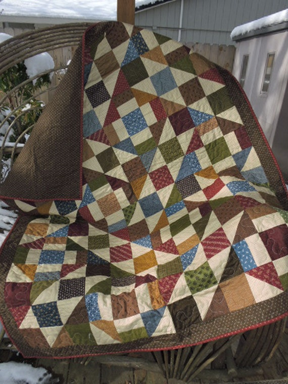 Patchwork quilt sets blue burgandy and gold