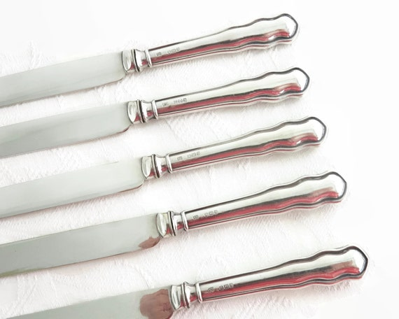 5 antique sterling silver knives, sterling handles, silver plated blades, butter / entree knives, British sterling, Sheffield, 1912