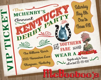 Vinatge Kentucky Derby Party VIP Ticket Invitation