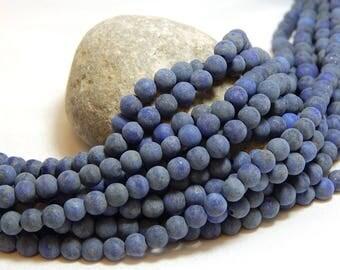 4mm Matte Lapis Lazuli, 4mm Matte Lapis Beads, Matte Lapis Lazuli, 4mm Gemstones, Small Gemstone Beads, Matte Lapis Lazuli Beads,  B-23A