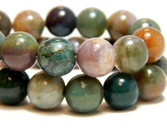 10mm Indian Agate, Full Strand, 10mm Agate Beads, 10mm Gemstone Beads, 10mm Fancy Jasper, Large Gemstones, 10mm Beads, 10mm Gemstones, B-24E