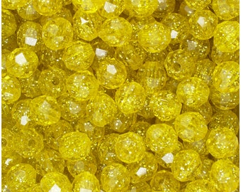 BeadTin Yellow Sparkle 8mm Faceted Round Plastic Craft Beads (450pcs)