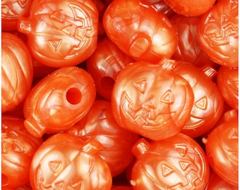 24 Orange Pearl 20mm Jack O Lantern Pumpkin Halloween Themed Pony Beads