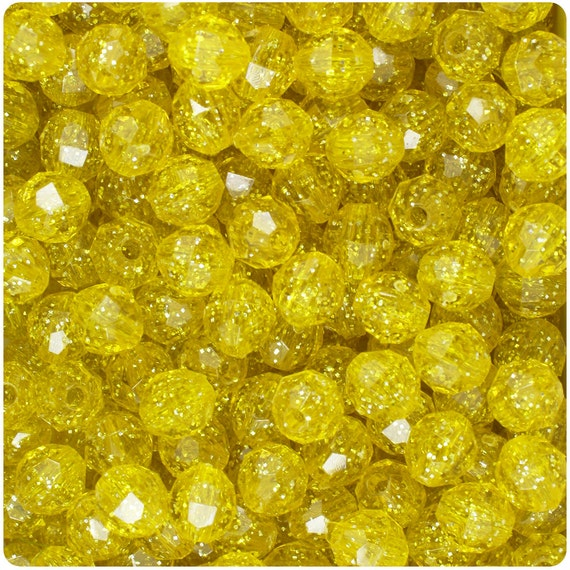 450 Yellow Sparkle 8mm Faceted Round Plastic Craft Beads - Made in the USA