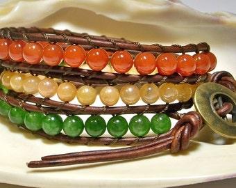 Gemstone Wrap Bracelet, Agate Wrap Bracelet, Layered Wrap Bracelet, Gift For Her Leather Wrap Bracelet, Triple Wrap Bracelet, Free Shipping
