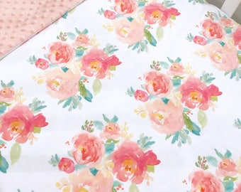 Custom double minky blanket; pink floral minky with light coral pink minky make this luxuriously soft blanket a must have!!