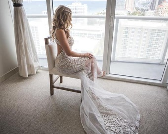 Bohemian Lace Wedding Dress, Unique Wedding Dress, Open Back Wedding Dress, Mermaid Wedding Dress, Lace Wedding Gown, Custom Wedding Dress