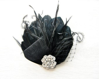 Feather Fascinator Hair Clip Downton Abbey 1920's flapper headpiece black The Great Gatsby, Feather bridal fasciantor, feather hair piece