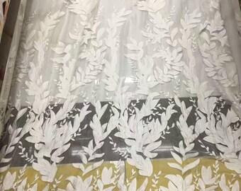 leaf silk fabric,leaves silk chiffon lace fabric in off white,wedding dress fabric