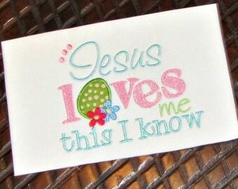 Jesus Loves Me Applique Design, Easter Applique Pattern, Machine Embroidery Design