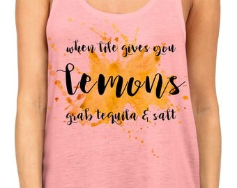 New When Life Gives You Lemons Grab Tequila & Salt Racerback Tank Top Pink Juniors S-XL B585