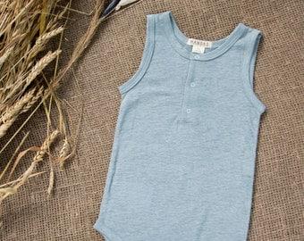 NEW! Vintage baby sleeveless bodysuit/ linen bodysuit/ 207SS16
