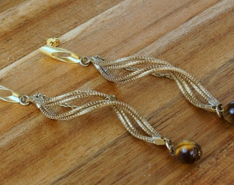 Twisted Dangle Earrings, Tiger Eye Dangle Earrings, Long Earrings, Golden Grass Dangle Earrings, Organic Dangle Earrings