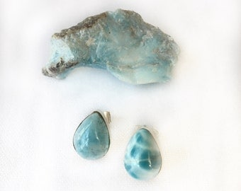 Teardrop Larimar Sterling Silver Earrings