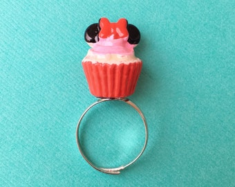 SALE Sweet Tooth Collection Minnie Mouse Cupcake Adjustable Ring - Pink and Red