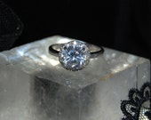 Round Halo Set CZ Engagement in Vintage Sterling Silver Solitaire Ring #BKC-RNG194