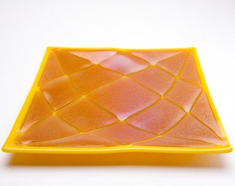 Fused Glass Square Plate of Sunflower Yellow/Amber Iridized Glass