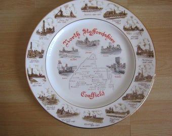 "Vintage Edwardian Bone China Plate ""North Staffordshire Coalfield"""