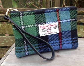 Harris tweed Wristlet clutch bag in hunting Mackenzie tweed with detachable wrist strap