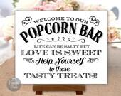 Popcorn Bar Sign, Black and White, Wedding, Party, Printable, Digital (#POP4B)