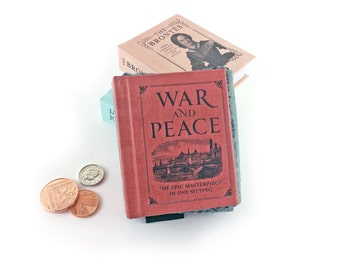 """War and Peace Coin Purse, War and Peace, Leo Tolstoy gift, Teeny tiny book purse, """"Everything I know, I know because of love."""""""