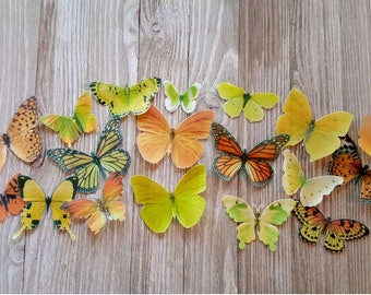 18 Orange and Yellow Edible Butterflies Romantic Cake Toppers