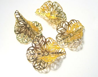 Gold Flower Filigree Cone Caps Bead Caps