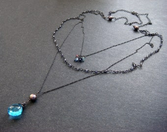 Oxidized Long Necklace, Long Sterling Silver Necklace, Layered Necklace, Multi Strand Necklace,Oxidized Necklace,Blue Quartz Necklace,Rosary