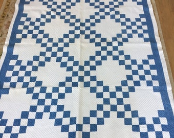Antique Double Irish Chain Quilt Patchwork Blue and White Handmade Cottage Chic Farmhouse Hand Quilted Bedding Country Living Fixer Upper