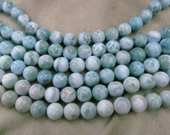wholesale Natural Larimar Stone , Larimar Bead Smooth Bead, Natural Stone, Semi Precious Bead, Blue Bead Larimar Necklace  6-12mm 16inch
