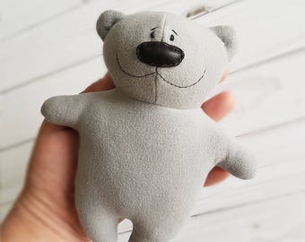 Grey soft toy bear, plush teddy bear, artist teddy bear, stuffed teddy bear, handmade bear, cute plush baby toy, stuffed animals