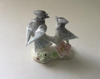 Vintage Birds with Flowers Figurine/Bone China Blue Jay Figurine