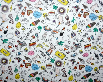 Fabric - Rico - Quirky icons on white print - knit/jersey cotton